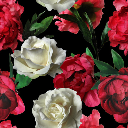 art vintage watercolor floral seamless pattern with white roses and red peonies isolated on black background
