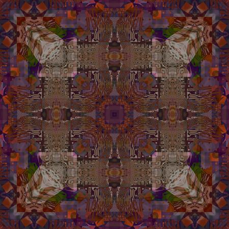 dark beige: art deco ornamental vintage pattern, S.41, dark background in brown, beige, orange and blue colors