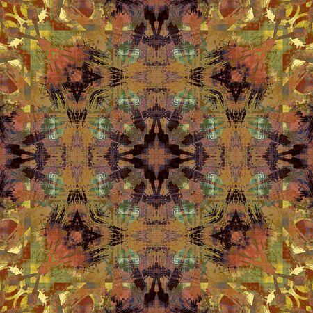 dark olive: art deco ornamental vintage pattern, S.22, colorful background in orange brown, gold, dark blue and olive green colors