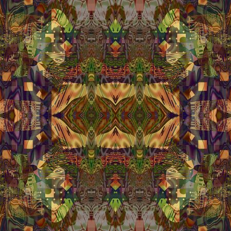 gold brown: art deco ornamental vintage pattern, S.43, background in green, gold, brown and violet colors Stock Photo