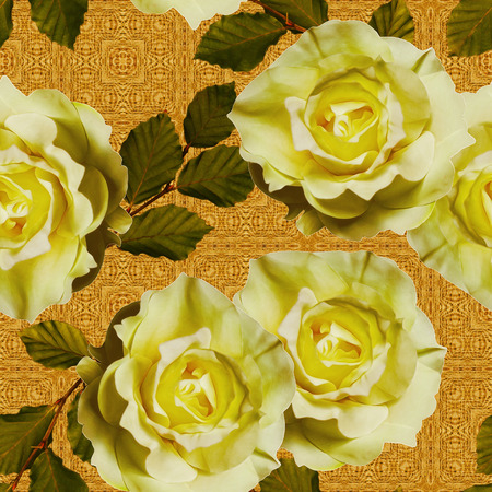 yellow roses: art vintage floral seamless pattern  with tea white yellow roses on ornamental golden background Stock Photo