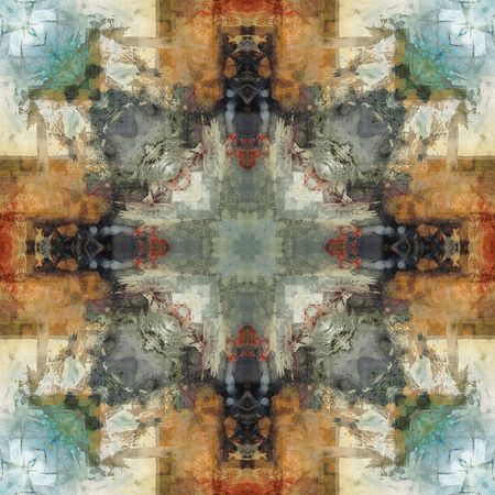 motif pattern: art nouveau ornamental vintage  pattern, S.1, colorful watercolor background in pastel green, blue, white, beige, grey olive and orange colors