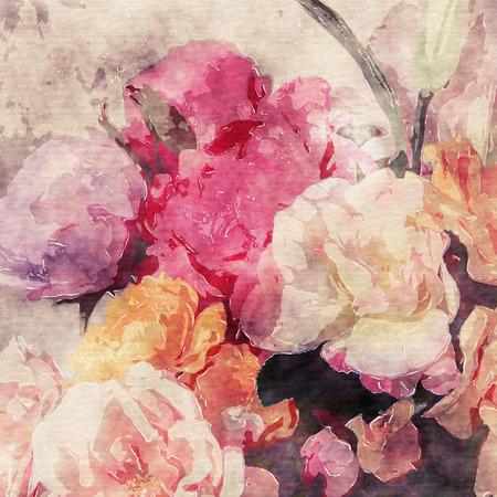 rosas amarillas: arte floral grunge fondo caliente acuarela del vintage de la sepia con blanco, té, amarillo, morado y rosa rosas y peonías Foto de archivo
