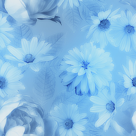 florish: art vintage monochrome graphic and watercolor blurred floral seamless pattern with blue peonies and asters on blue background