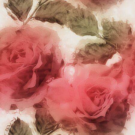 florish: art vintage watrecolor blurred floral seamless pattern with red roses on white background