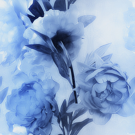 florish: art vintage monochrome watercolor blurred floral seamless pattern with blue peonies on light blue background