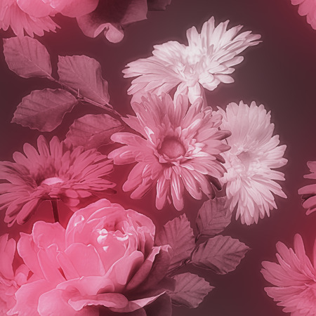 florish: art monochrome vintage watercolor blurred floral seamless pattern with red and white roses and gerberas isolated on dark purple background