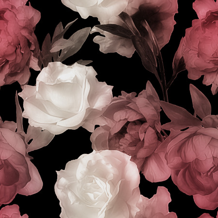 black and red: art vintage watercolor blurred floral seamless pattern with white roses and red peonies isolated on black background