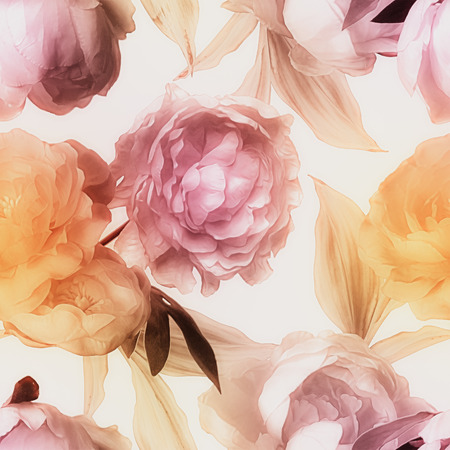painting: art vintage blurred watercolor floral seamless pattern with gold and pink red peonies isolated on white background