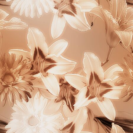 florish: art monochrome watercolor blurred vintage floral seamless pattern with white and brown lilies and gerberas on brown beige background