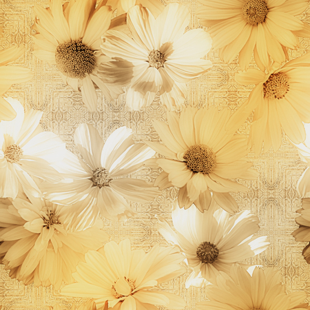 vintage floral pattern: art vintage graphic and watercolor blurred floral seamless pattern with golden and white asters on grey damask  background
