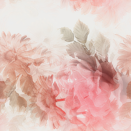 flower blooming: art monochrome watercolor blurred vintage floral seamless pattern with white and red gerberas and roses isolated on white  background