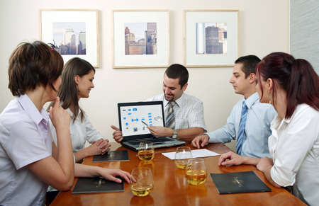 Workgroup interacting in a natural work environment. Stock Photo - 2101901