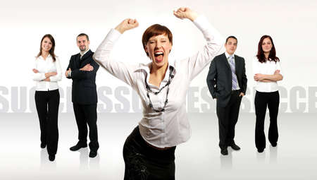 businessteamwork: business team with a businesswoman leading it Stock Photo