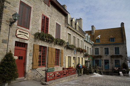 royal park: Quebec, Canada - February 03, 2016: View of the Place Royale, part of Old Quebec, a UNESCO world heritage treasure during winter.