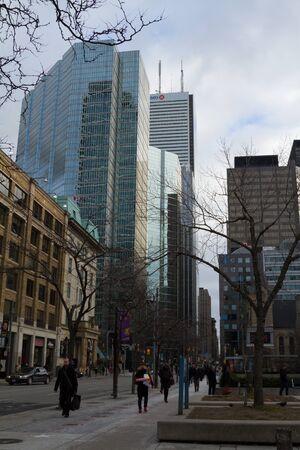 king street: Toronto, Canada - January 27, 2016: Toronto downtown, people walking on King Street during winter. Editorial