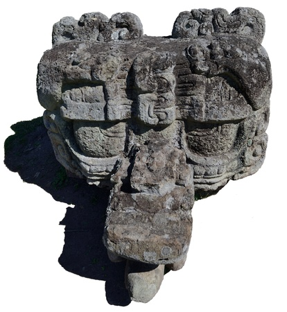 stele: A mysterious stone stele ancient Mayan city of Copan in Honduras, on a white background