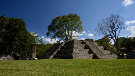 honduras: Pyramid and Stella in the ancient Mayan city of Copan in Honduras