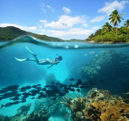 arrecife: Hermoso arrecife coralino Caribian mar con una gran cantidad de peces y una mujer