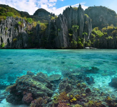 Photo of sharp cliffs and colorful coral reefs in the Philippines. Stock Photo - 18182371
