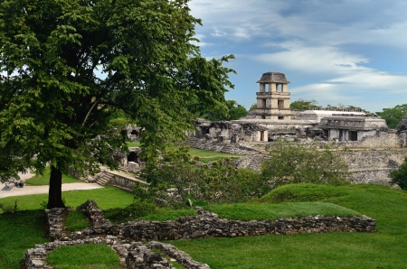 Watch tower in the ancient Mayan city of Palenque, Mexico.