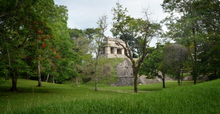explores: Archaeological structure in the form of a pyramid in the ancient Mayan city of Palenque, Mexico