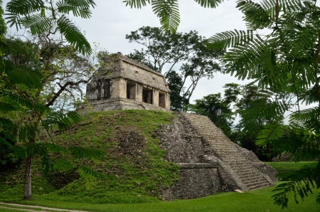 explores: Archaeological structure in the form of a pyramid in the ancient Mayan city of Palenque