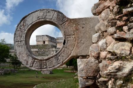 kamenný kruh pro míčové hry v Uxmal, Yucatan Reklamní fotografie