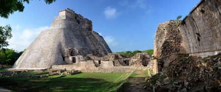 Panoramic view of the Mayan pyramids in Uxmal, Yucatan, Mexico.