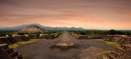 Panoramic view from the Pyramid of the Moon at the ancient Mayan city of Teotihuacan, Mexico