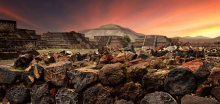 Sunset over the mystical ruins of the ancient Mayan city of Teotihuacan panoramic view