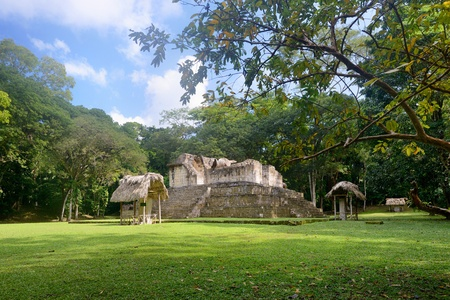 Pyramids and Stella in the archaeological park Cebal in Guatemala Stock Photo - 20418313