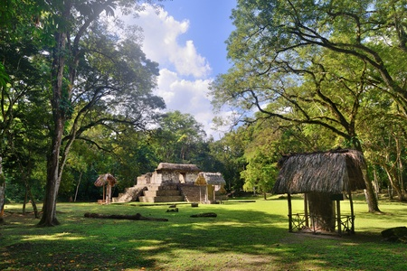 studied: Little studied Pyramid and Stella archaeological park Cebal in Guatemala Stock Photo