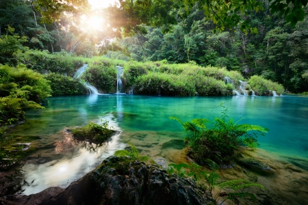 forest stream: Cascades National Park in Guatemala Semuc Champey at sunset