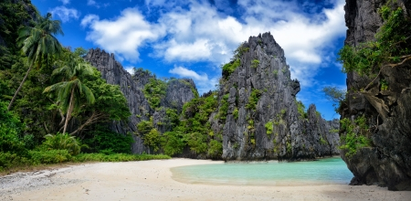 Beautiful  wild  beach among the rocks of El Nido Philippines
