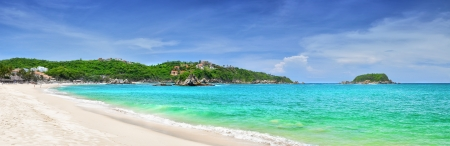 Beautiful panoramic views of the Pacific beach in Huatulco, Mexico