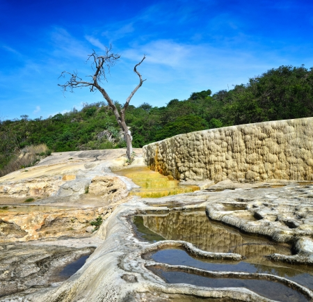 oaxaca: Thermal springs Hierve El Agua in Oaxaca is one of the most beautiful places in Mexico are high in the mountains  Stock Photo