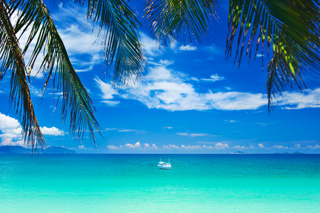 beautiful beach and tropical sea Banco de Imagens