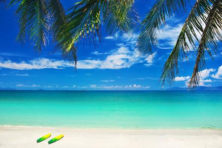 Colorful kayaks on sandy beach Banco de Imagens - 28135453