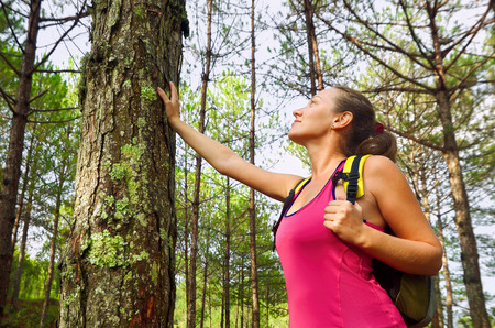 ecotourism: Woman enjoying the beautiful pines travel green forest in Europe.  Ecotourism concept image with happy female hiker.