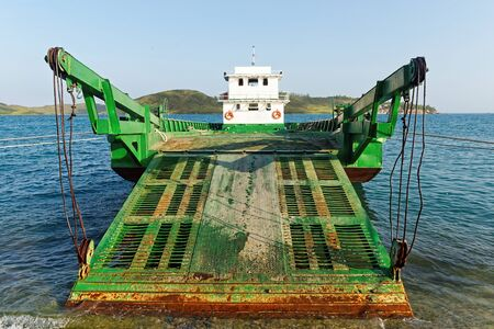 the mainland: Car ferry boat in Vietnam linking the islands to mainland.