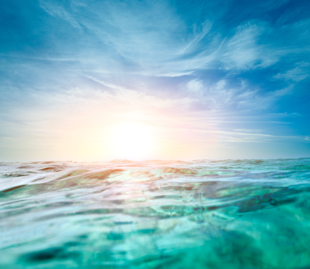 beneath the surface: Abstract underwater background with sunbeams Stock Photo
