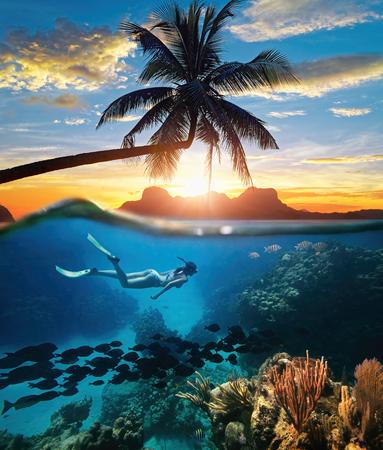 일몰 하루에 열대 Caribian 바다에서 산호초 근처 젊은 여자 스노클링.