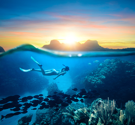 Young woman snorkeling near the coral reef in the tropical Caribian sea on sunset day. Foto de archivo