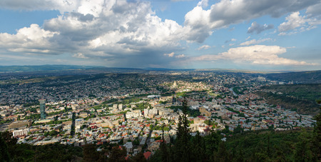 Panoramic view of Tbilisi, the capital of Georgia with old town and modern architecture.