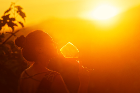 Portrait of young woman in the vineyard having wine in sunset.