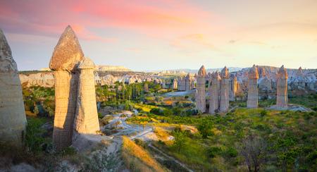 Panoramic view of Love valley with beautiful rocks near Goreme village, Cappadocia, Turkey