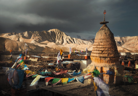 Beautiful view of the roofs of the ancient capital of the Kingdom of Lo, Upper Mustang. Nepal. Travel to explore the ancient culture of Tibet Banque d'images - 116123090