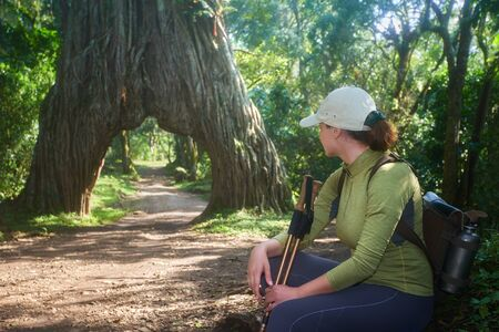 Traveler during trekking relaxing and enjoying beautiful African forest in Arusha National Park, Tanzania. Concept healthy and active lifestyle.