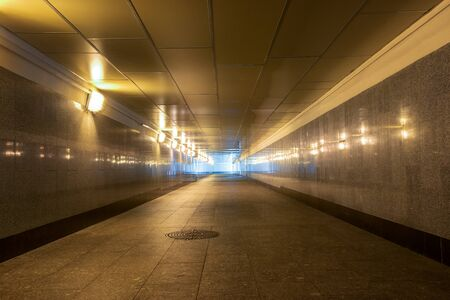 Deserted pedestrian crossing in the underground Banco de Imagens